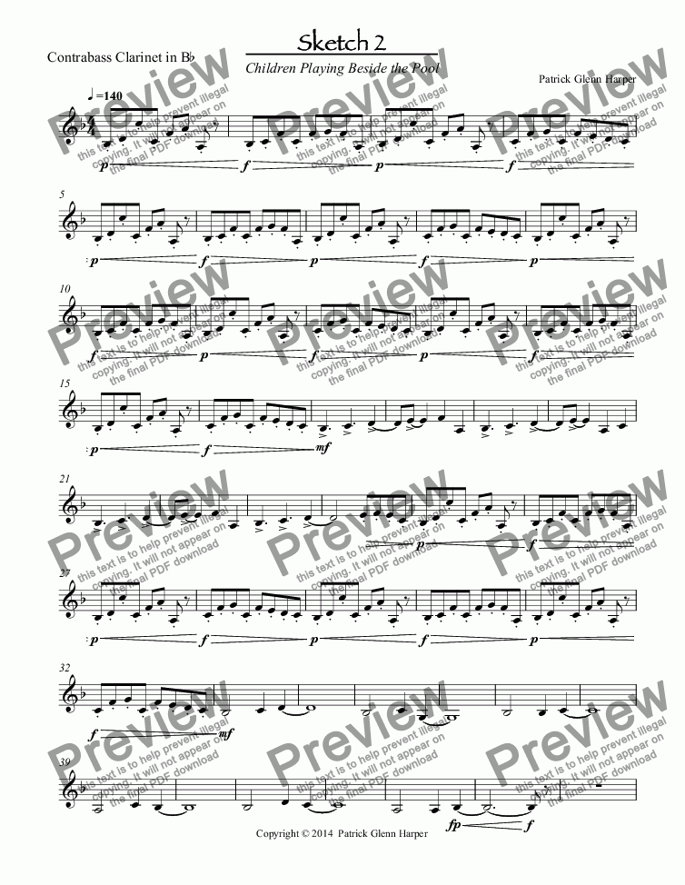 page one of the B-flat Contrabass Clarinet part from Three Sketches for Woodwind Ensemble - Movement 2