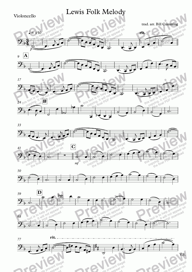 "page one of the Violoncello part from ""Lewis Folk Melody"" for string orchestra"
