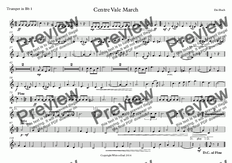 page one of the Trumpet in Bb 1 part from Centre Vale March