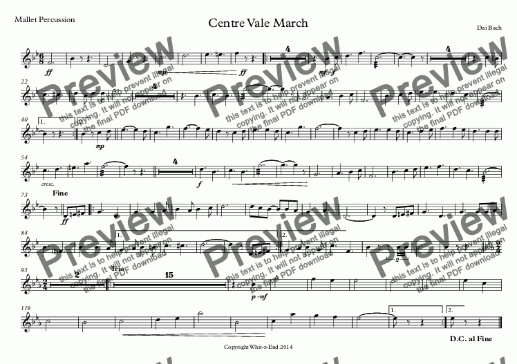 page one of the Mallet Percussion part from Centre Vale March