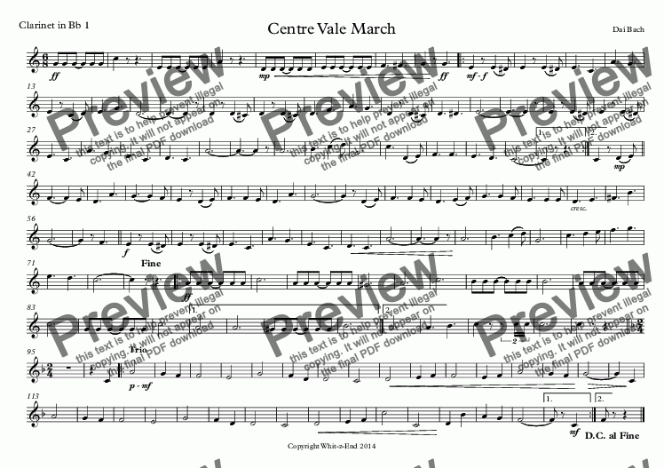 page one of the Clarinet in Bb 1 part from Centre Vale March