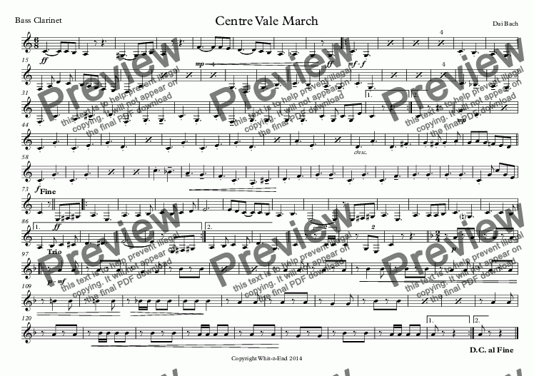 page one of the Bass Clarinet part from Centre Vale March