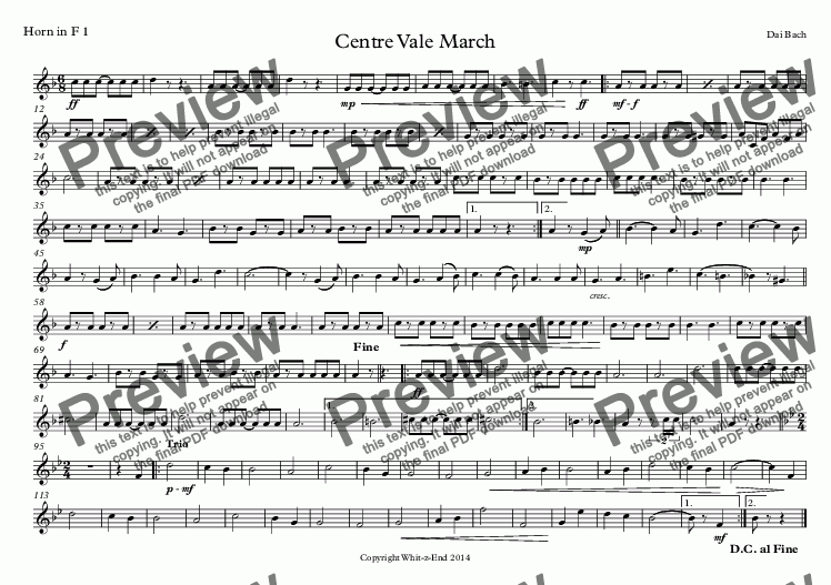 page one of the Horn in F 1 part from Centre Vale March
