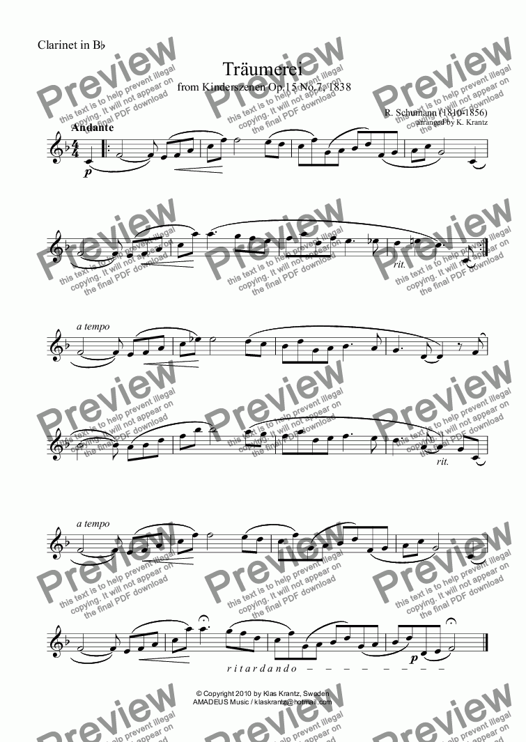 page one of the Violin part from Traumerei / Reverie / Dreaming Op.15 No.7 for clarinet in Bb and piano