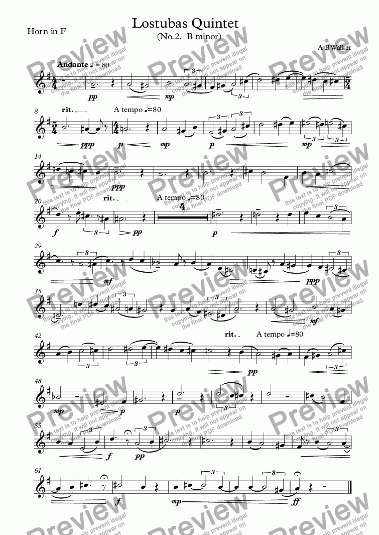 page one of the Horn in F part from Lostubas (Brass Quintet)