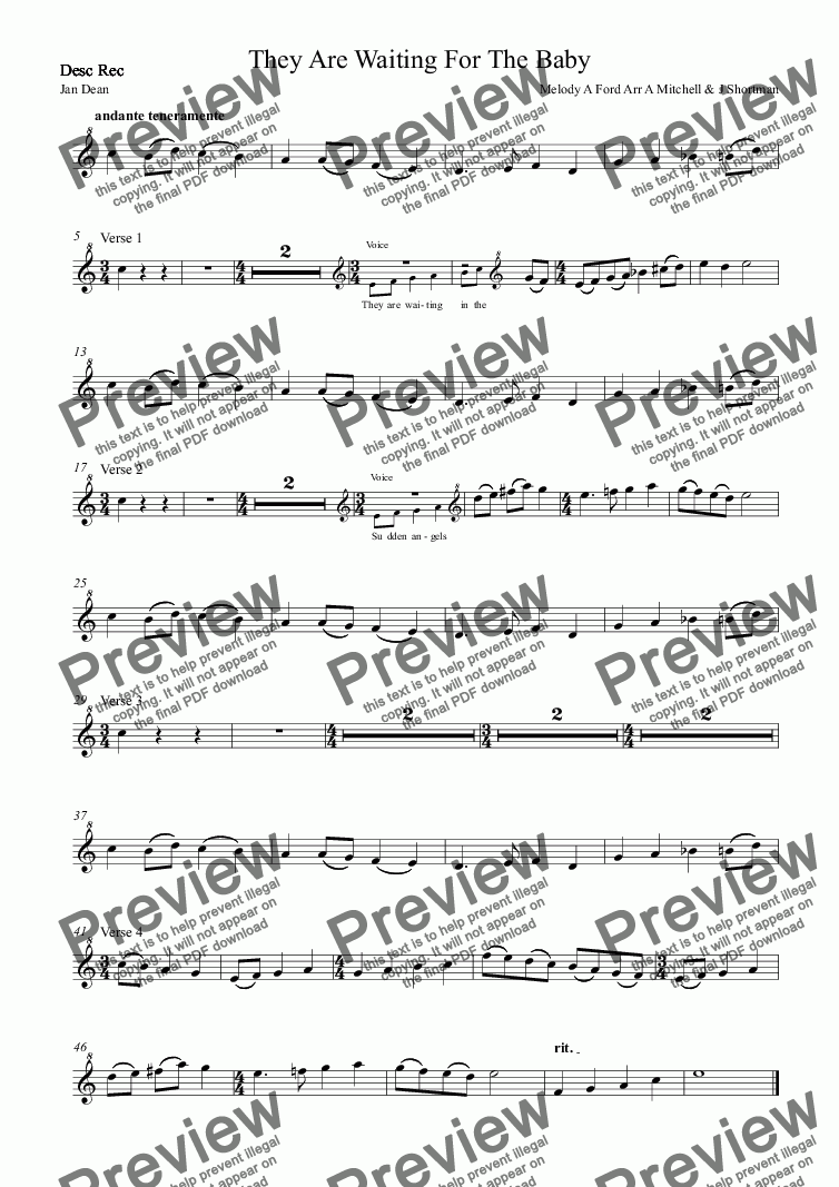 page one of the Desc Rec part from They Are Waiting For The Baby - Christmas Carol (previously free)