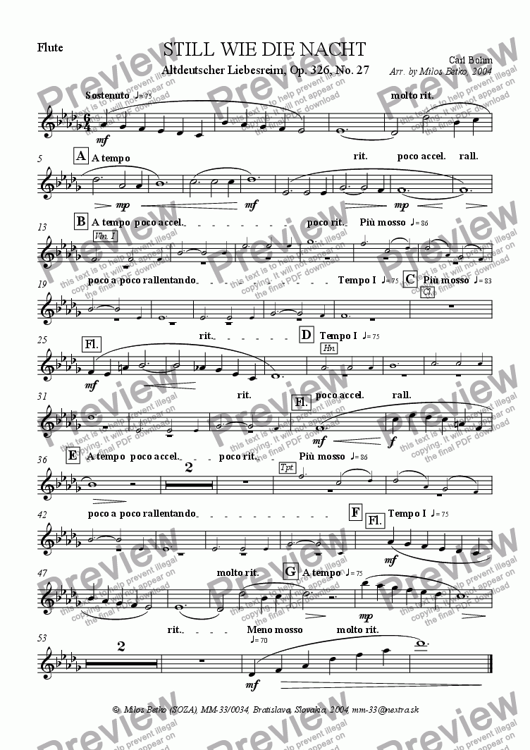 page one of the Flute part from Calm As The Night