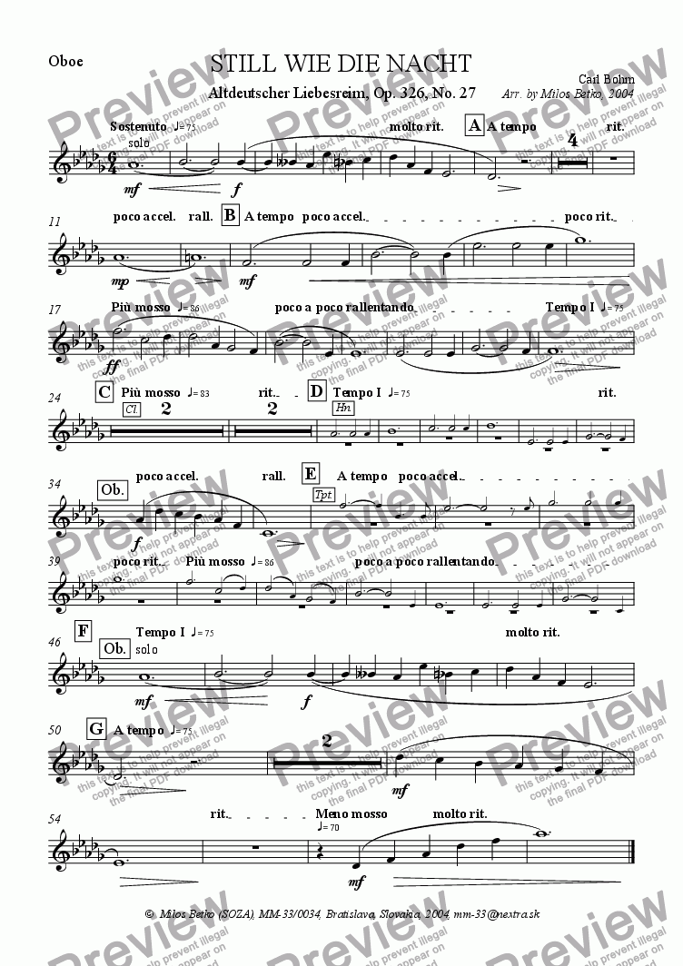 page one of the Oboe part from Calm As The Night