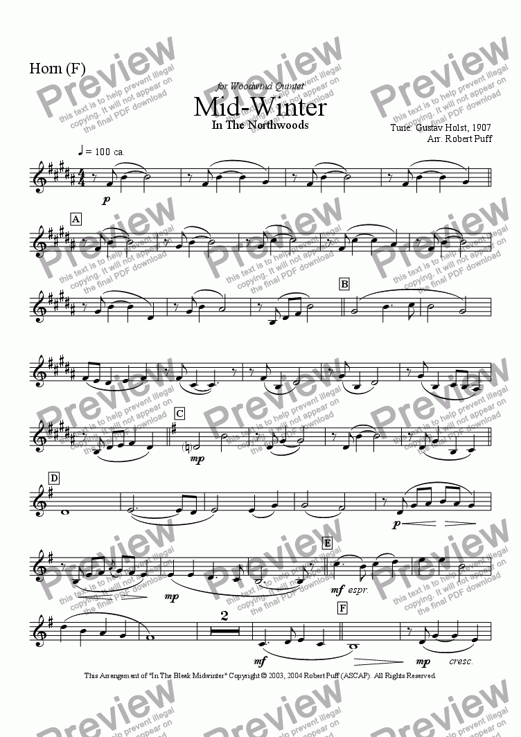 page one of the Horn (F) part from Mid - Winter In The Northwoods (woodwind quintet)