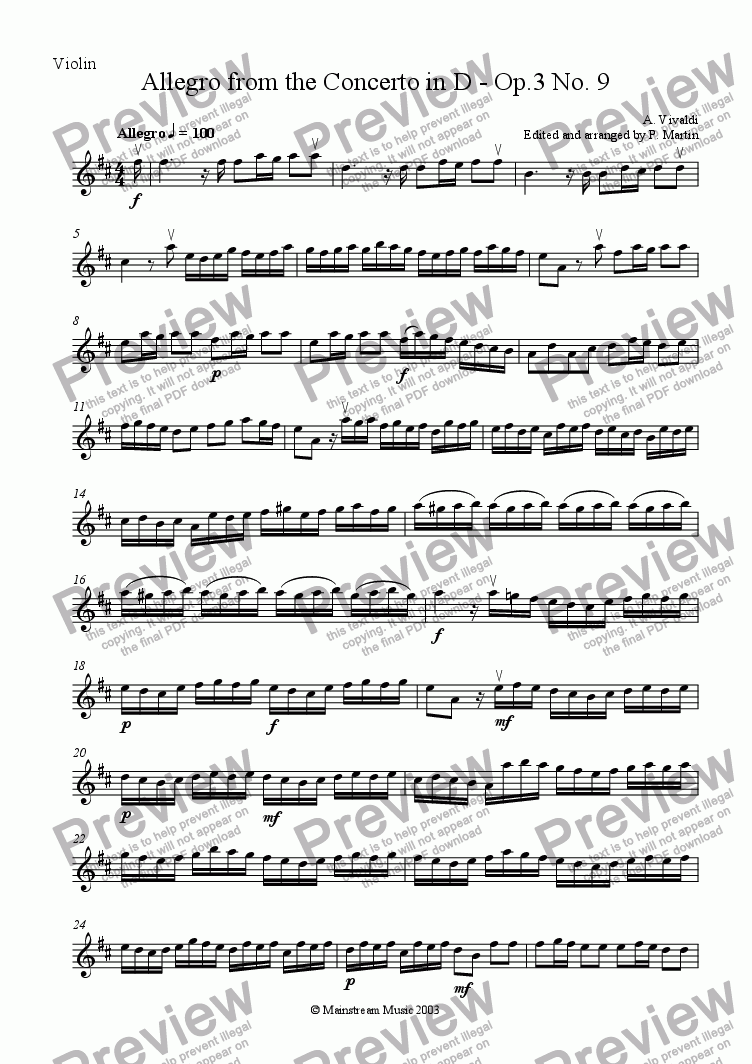 page one of the Violin part from Allegro from the Concerto in D Major