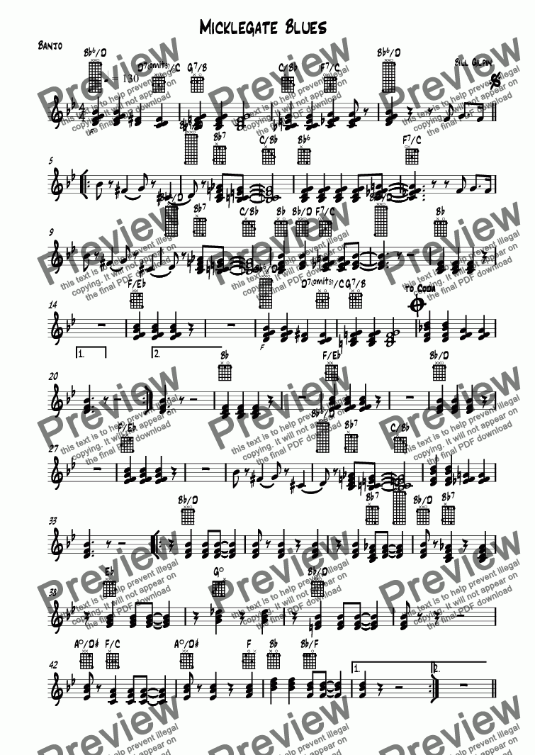 page one of the Banjo part from Micklegate Blues