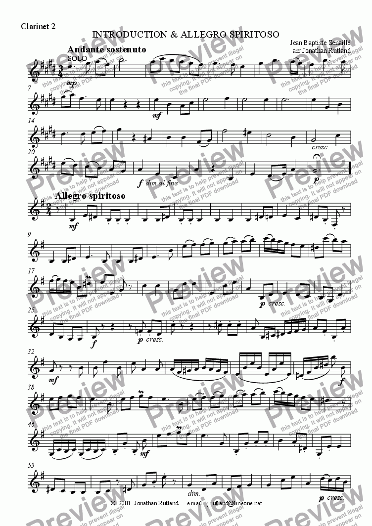 page one of the clarinet 2 part from Introduction and allegro spiritoso