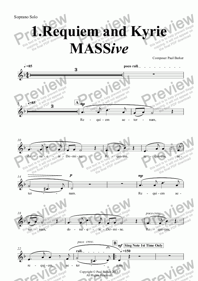 page one of the Soprano Solo part from MASSIve- A Mass In Rock: 1.Requiem and Kyrie (Vocal/Piano Score)