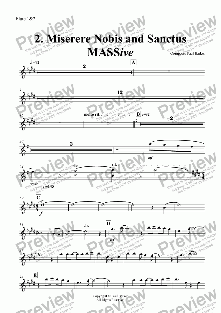 page one of the Flute 1&2 part from MASSive- A Mass In Rock: 2. Miserere Nobis and Sanctus (Full Score)