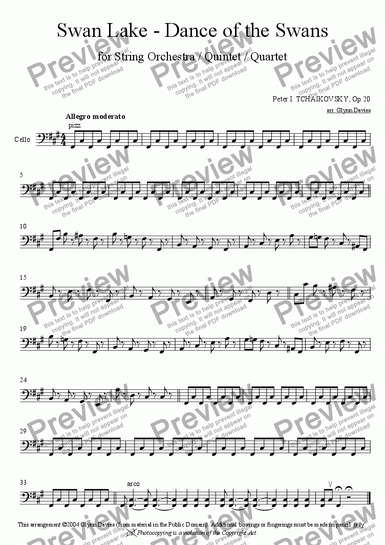 page one of the Cello part from Swan Lake - Dance of the Cygnets