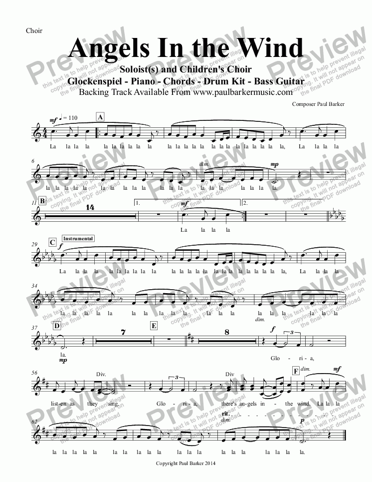 page one of the Choir part from Angels In the Wind (Piano/Vocal Score)