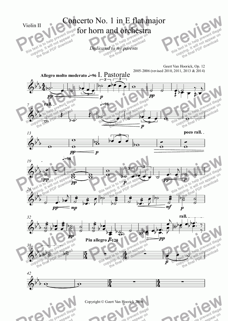 page one of the Violin II part from Concerto No. 1 in E flat major for horn and orchestra, Op. 12 - I. Pastorale
