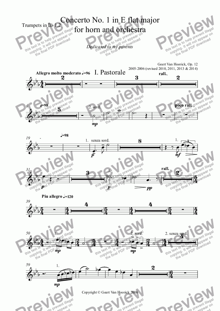 page one of the Trumpets in B^b 1.2. part from Concerto No. 1 in E flat major for horn and orchestra, Op. 12 - I. Pastorale