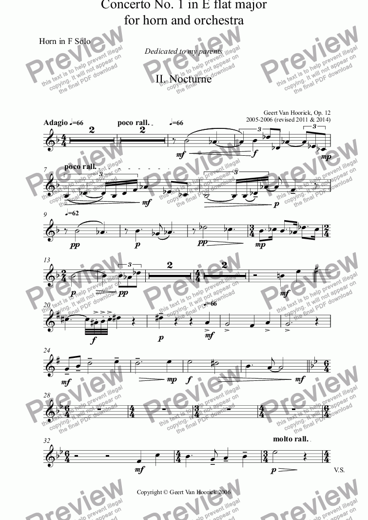 page one of the Horn in F Solo part from Concerto No. 1 in E flat major for horn and orchestra, Op. 12 - II. Nocturne