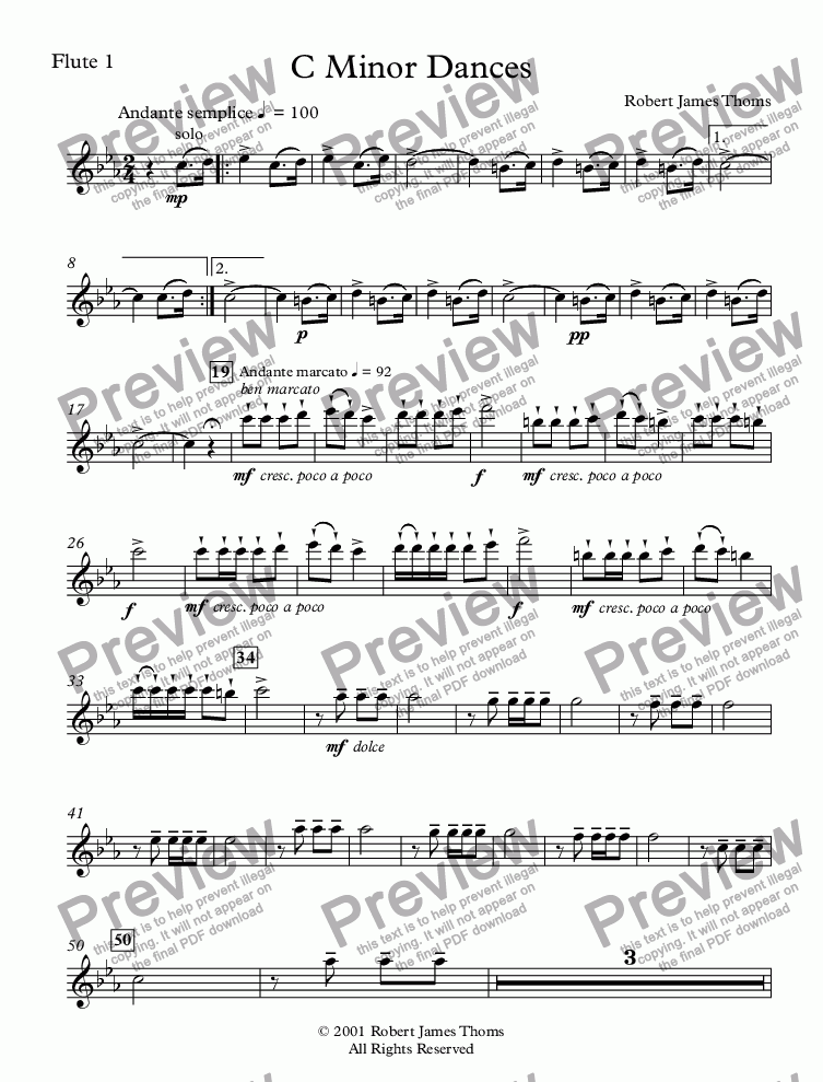 page one of the Flute 1 part from C Minor Dances Without Chorus