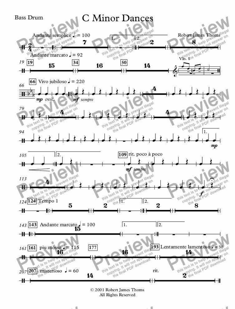 page one of the Bass Drum part from  C Minor Dances With Chorus