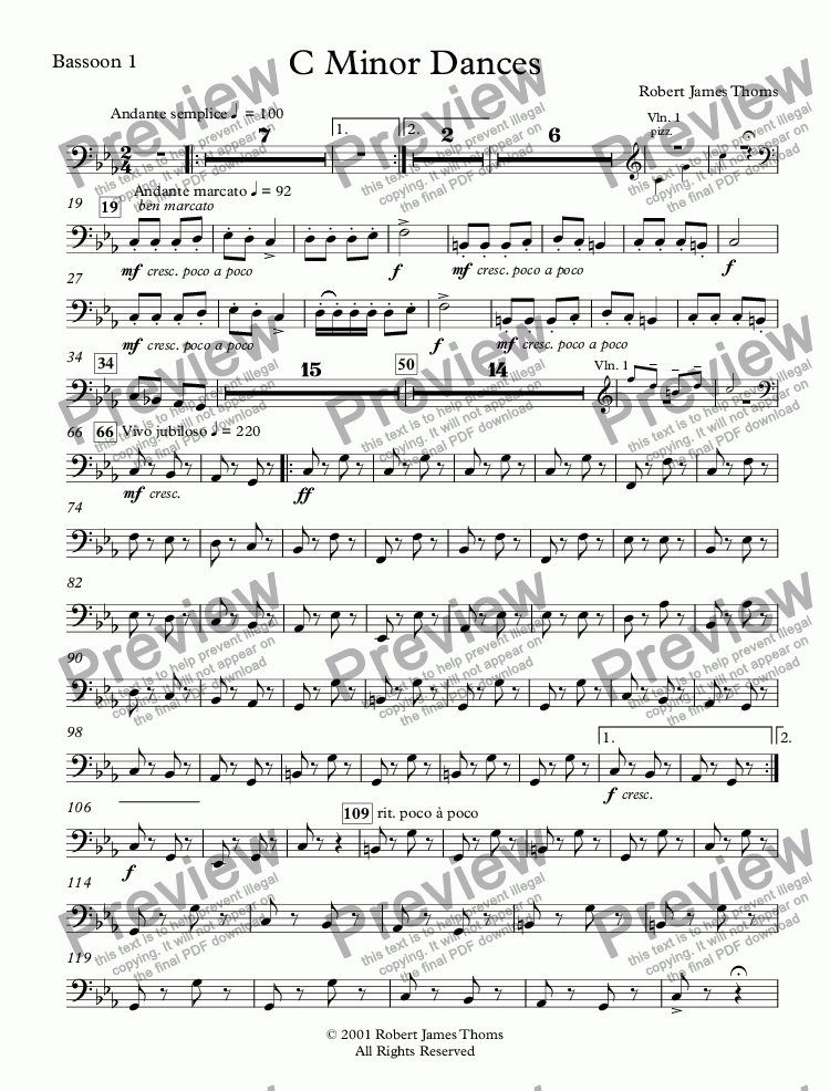 page one of the Bassoon 1 part from  C Minor Dances With Chorus
