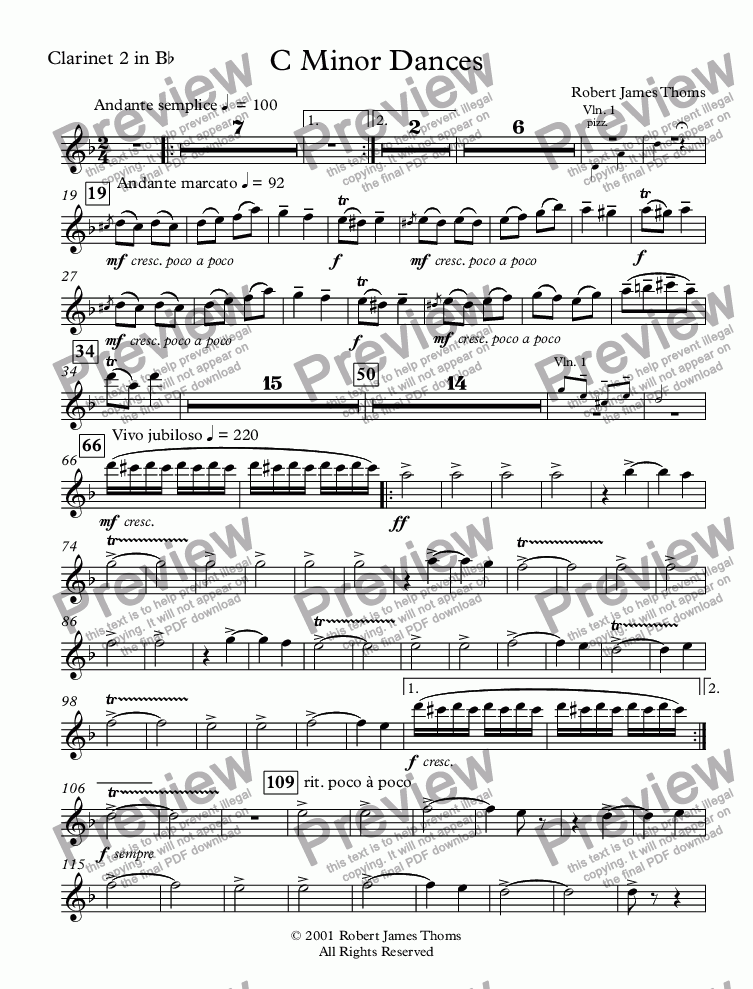 page one of the Clarinet 2 in Bb part from  C Minor Dances With Chorus