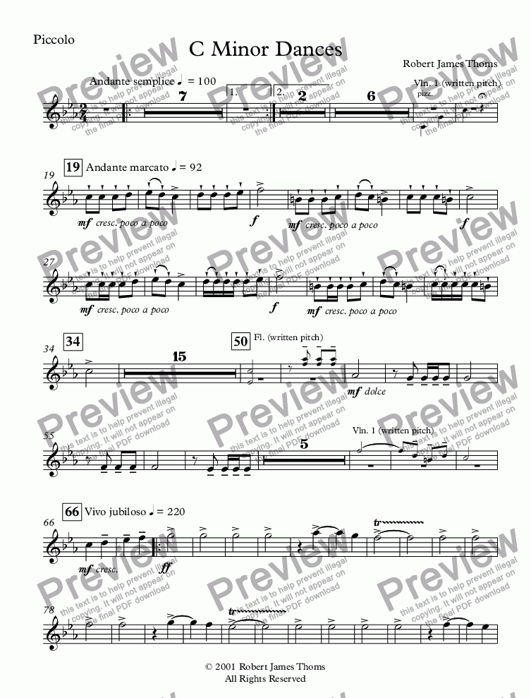 page one of the Piccolo part from  C Minor Dances With Chorus