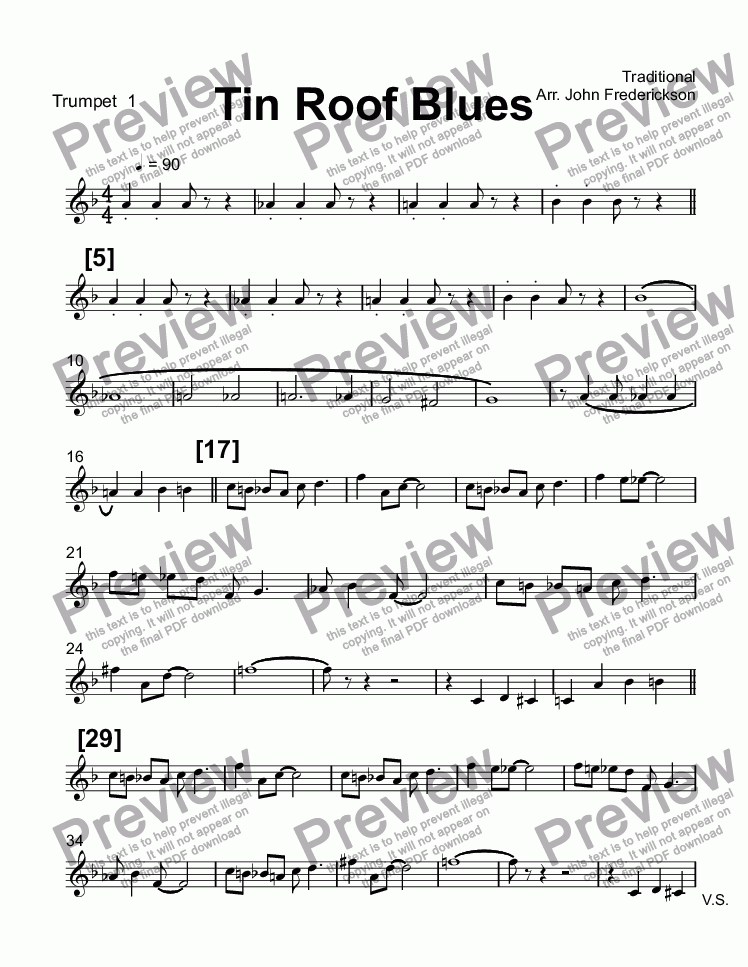 All Music Chords free trumpet solo sheet music : Trumpet 1 part from Tin Roof Blues - Sheet Music PDF file