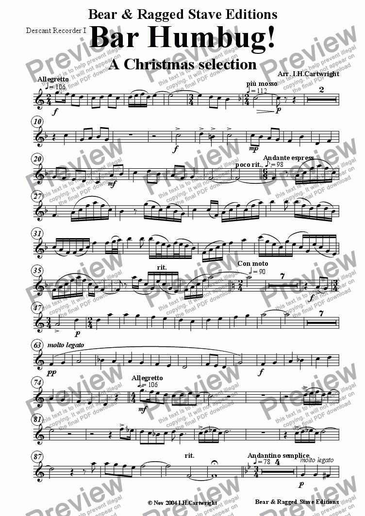 page one of the Descant recorder I part from Bar Humbug! - a Christmas selection for recorder quintet