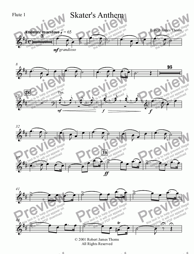 page one of the Flute 1 part from  Skater's Anthem