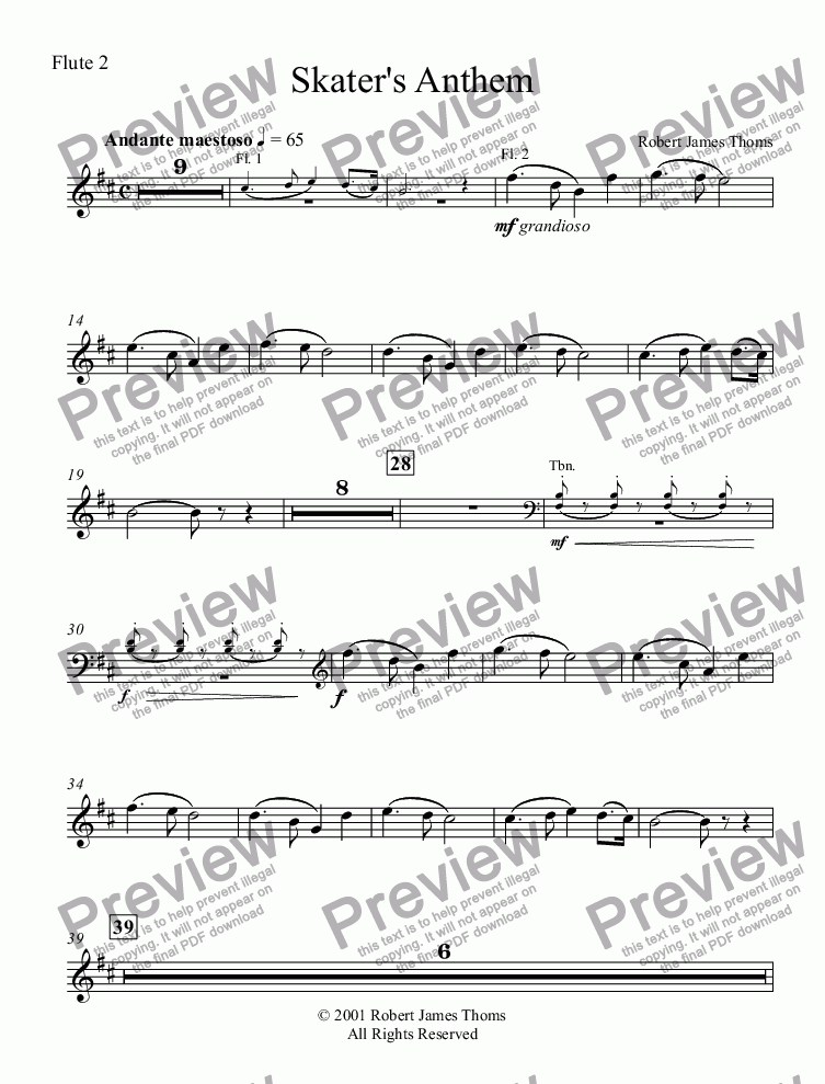 page one of the Flute 2 part from  Skater's Anthem