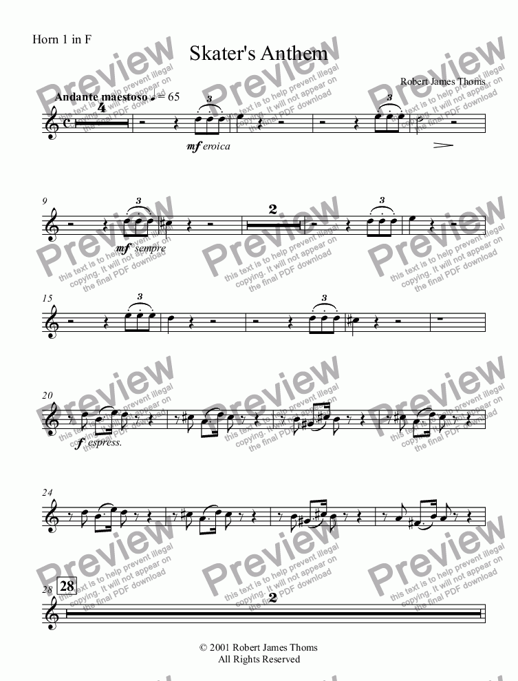 page one of the Horn 1 in F part from  Skater's Anthem