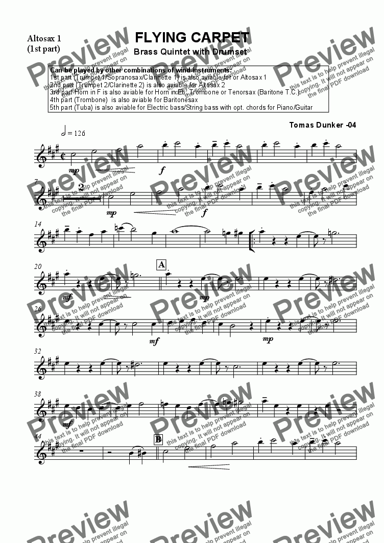 page one of the Altosax 1 (part1) part from Flying Carpet (Brass/Mix Quintet)