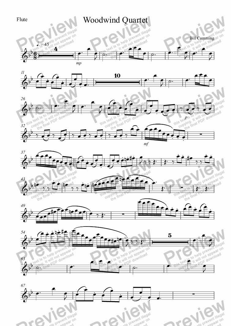 page one of the Flute part from Woodwind Quartet