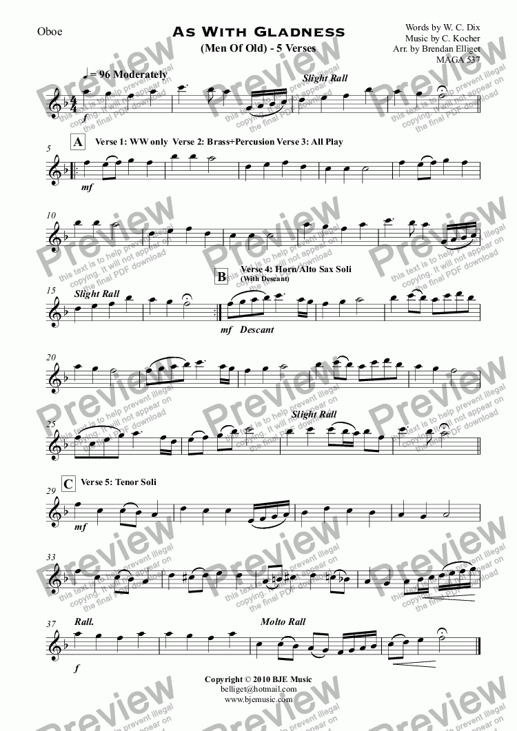 Oboe part from As With Gladness (Men Of Old) Christmas - Concert Band