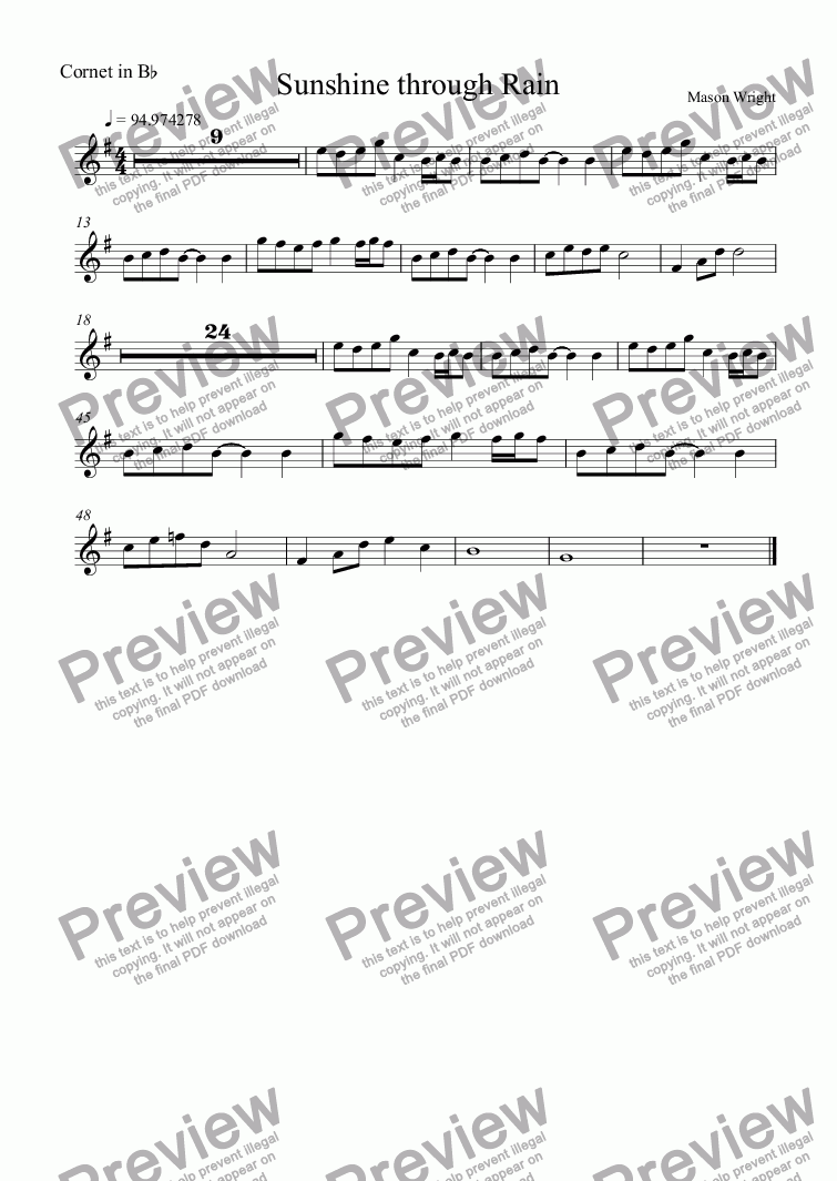 page one of the Cornet in B^b part from Sunshine through Rain