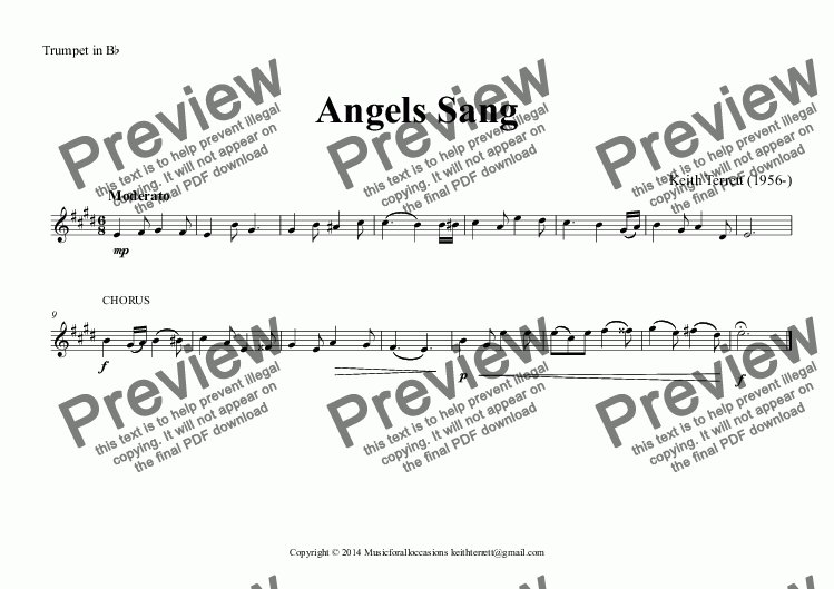 page one of the Trumpet in B^b part from Angels Sang  (Christmas Carol for Brass Quartet)