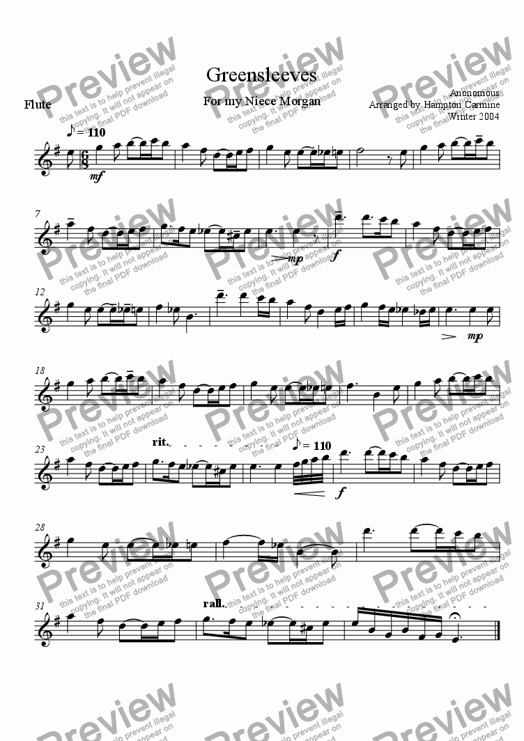 page one of the Flute Solo part from Greensleeves