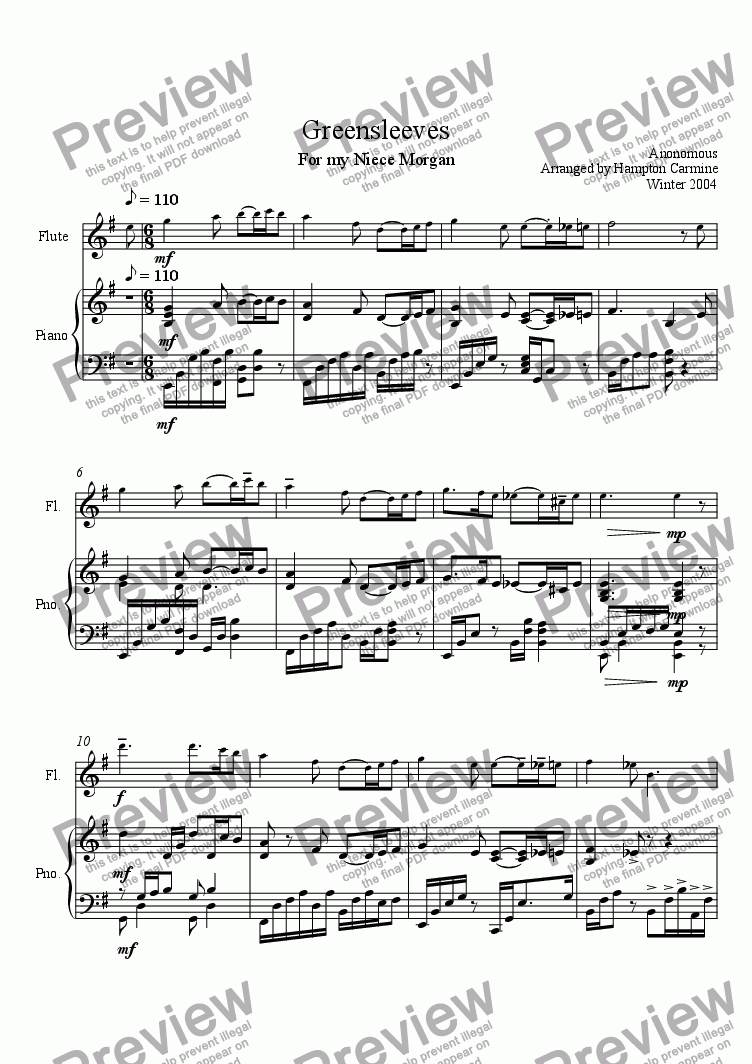 page one of the Piano Accompaniment part from Greensleeves