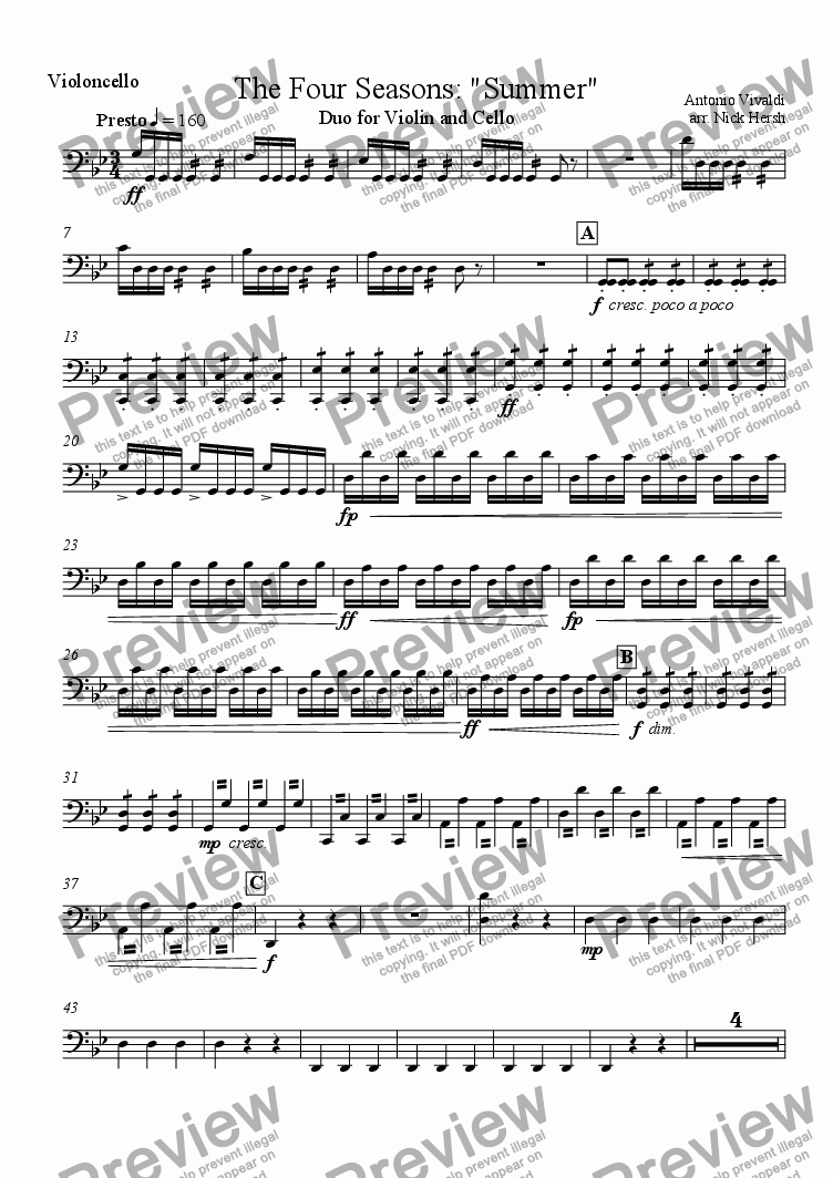 page one of the Cello part from The Four Seasons - Summer - Presto [Violin/Cello Duo]