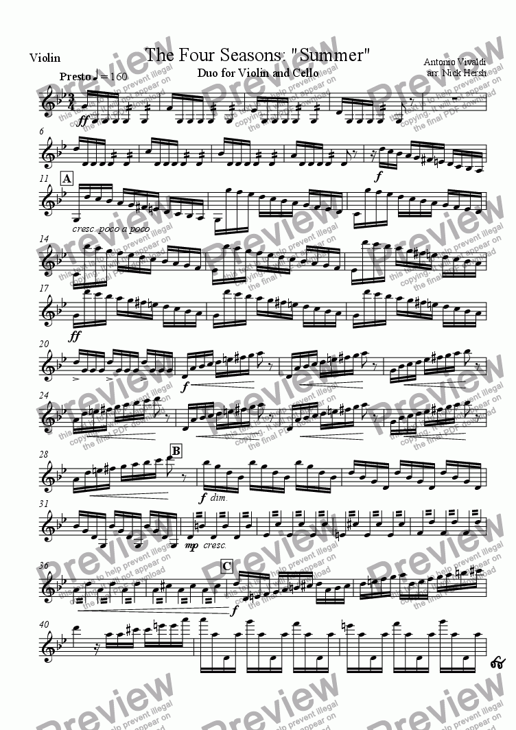 page one of the Violin part from The Four Seasons - Summer - Presto [Violin/Cello Duo]