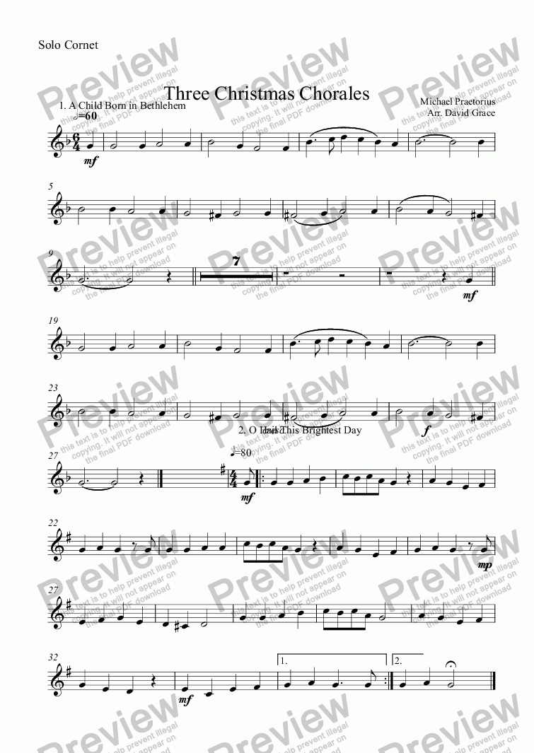 page one of the Solo Cornet part from Three Christmas Chorales