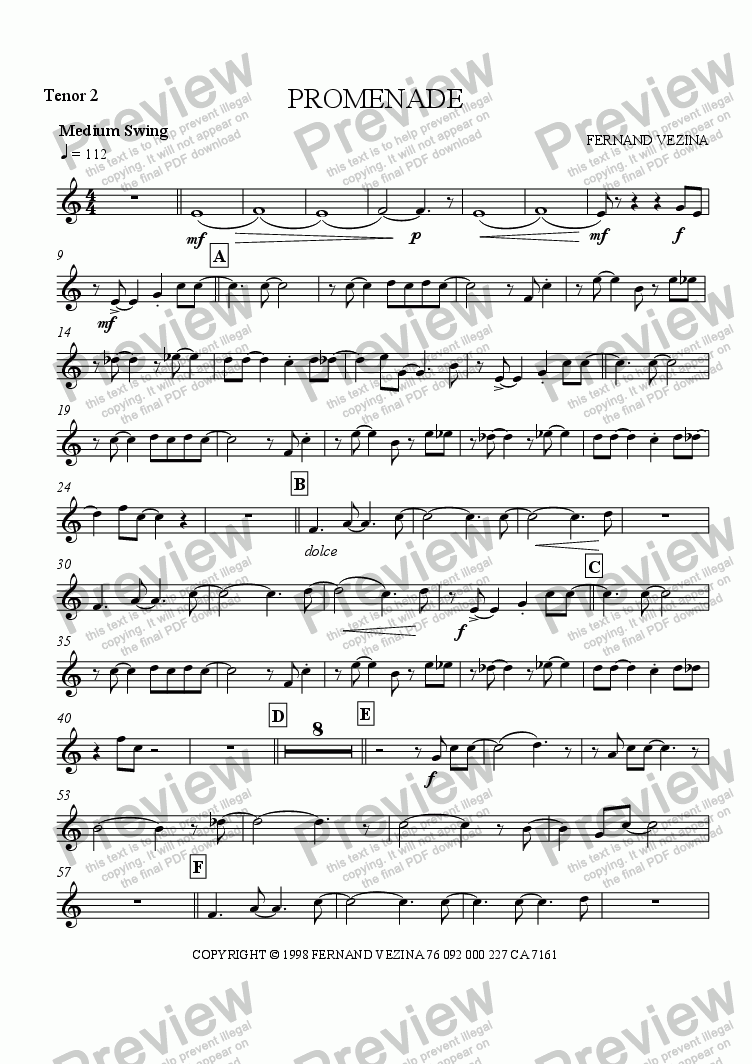 page one of the Bb Tenor Sax 2 part from Promenade (Big Band)
