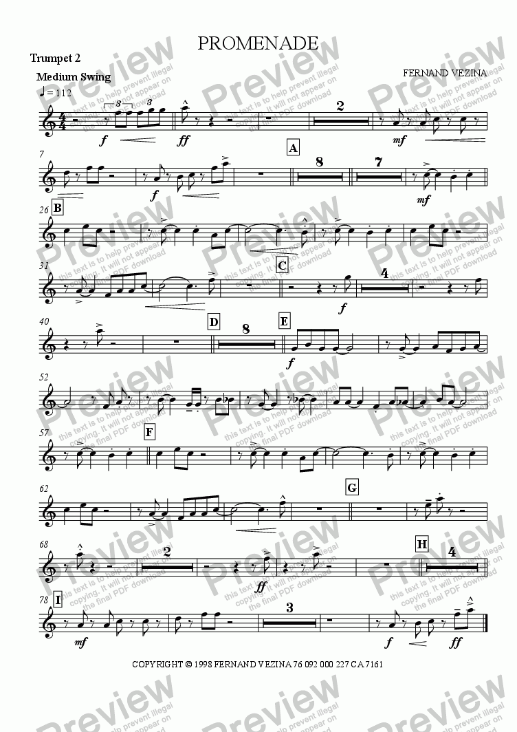 page one of the Bb Trumpet 2 part from Promenade (Big Band)