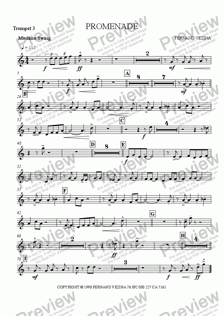 page one of the Bb Trumpet 3 part from Promenade (Big Band)