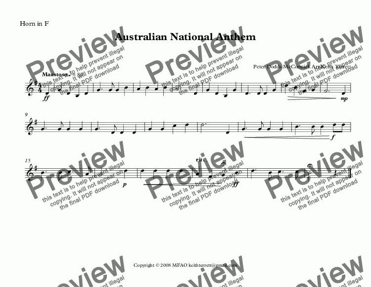 page one of the Horn in F part from Norfolk Island National Anthem for Brass Quintet (World National Anthem Series)