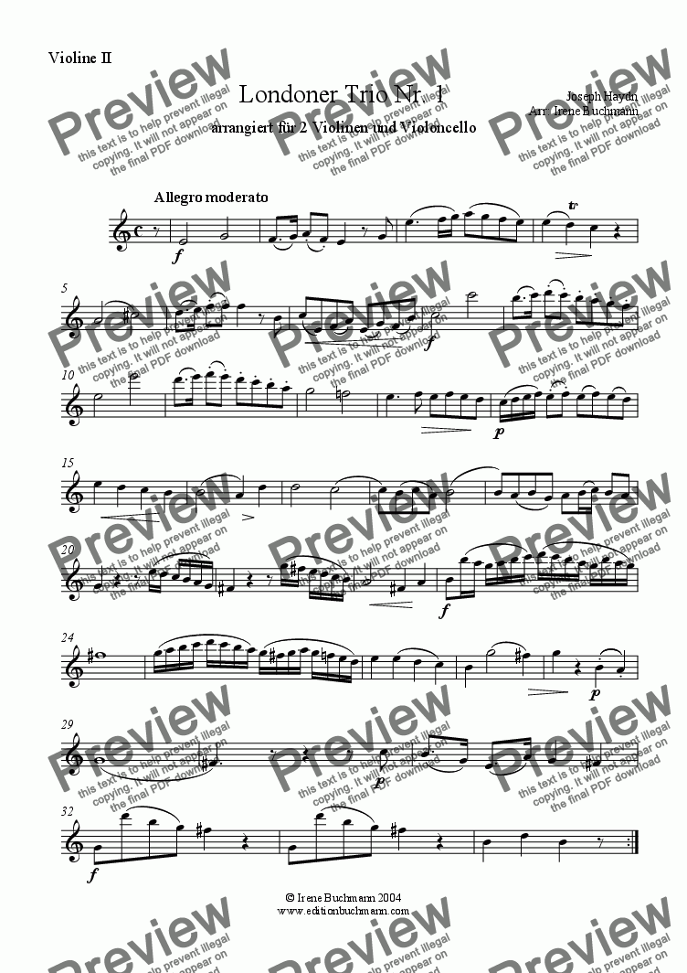 page one of the Violin 2 part from Haydn, LondonTrio Nr. 1