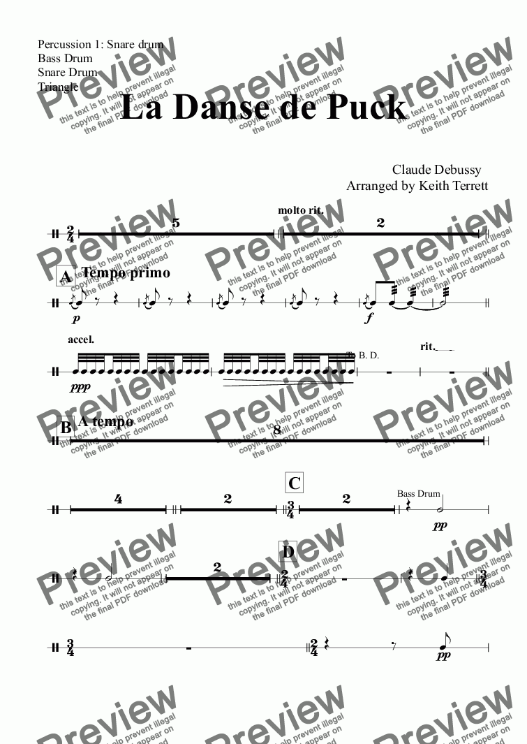 page one of the Percussion 1: Snare drum, Bass Drum, Snare Drum, Triangle part from La Danse de Puck for Symphonic Wind Band (Keith Terrett Classic Band Series)