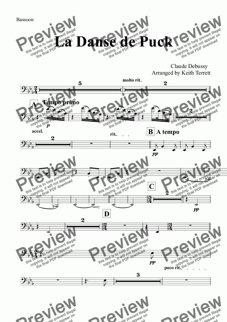 page one of the Bassoon part from La Danse de Puck for Symphonic Wind Band (Keith Terrett Classic Band Series)